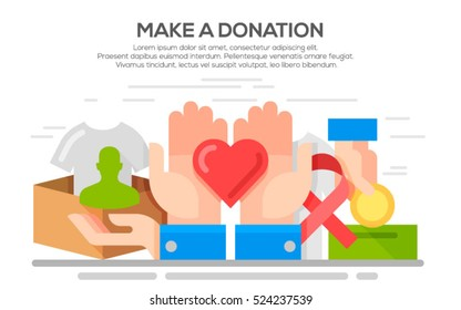 Donation, charity and  volunteer work concept illustration, flat design
