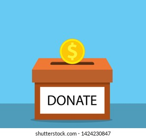 donation concept. Donate money with box Business, finance. coins depositing in a carton box. Vector illustration in flat style