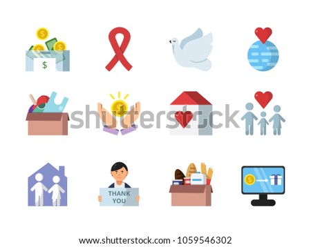 donation gifts other different symbols charities stock vector