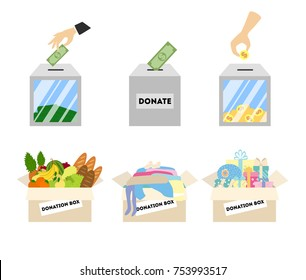 Donation illustrations set. Donating money, food and more for charity.