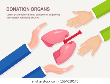 Donation organs. Doctors hands hold donor lungs for transplantation. Respiratory infection, pneumonia, tuberculosis, cancer concept. Volunteer aid for the patient. Vector cartoon design