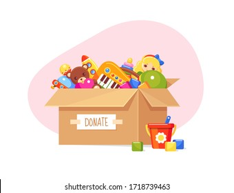 Donation paper box with children's toys. Doll, bear, toy blocks, bucket, ball and musical piano set. Vector charity concept illustration