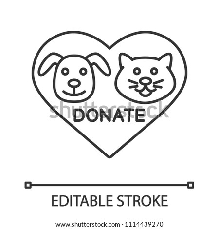 Image of: Horse Animals Welfare Thin Line Illustration Heart With Cat And Dog Snouts Inside Contour Symbol Vector Isolated Outline Drawing Editable Stroke Vector Chris Madden Cartoons Donation Pets Linear Icon Animals Welfare Stock Vector royalty Free