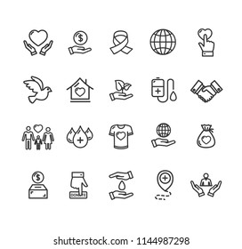 Donation Signs Black Thin Line Icon Set Include of Heart and Hand. Vector illustration of Charity Icons