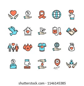 Donation Signs Color Thin Line Icon Set Include of Dove, Drop and Family. Vector illustration of Icons