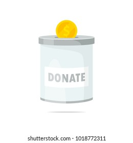 Donation tin can vector