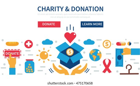 Donation vector concept illustrations. Concept for web banners, websites, infographics.