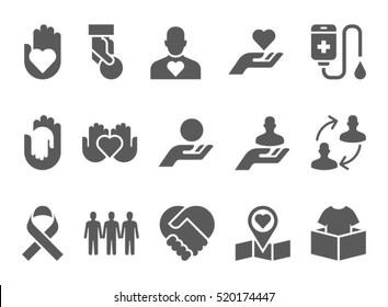 Donation and volunteer work concept icons