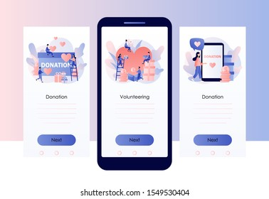 Donation and volunteers work concept. Screen template for mobile smart phone. Modern flat cartoon style. Vector illustration