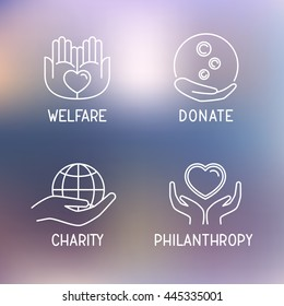 Donation / welfare / philanthropy icon set on blurred background. Simple thin line charity signs. Logo for blood / money giving. Idea concept sign. Vector illustration.
