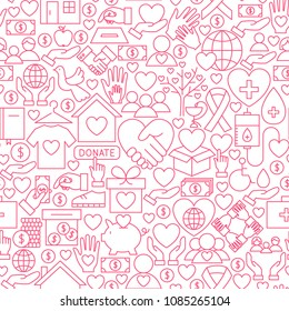 Donation White Line Seamless Pattern. Vector Illustration of Outline Tileable Background.