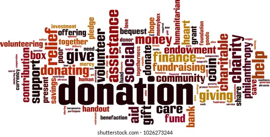 Donation word cloud concept. Vector illustration
