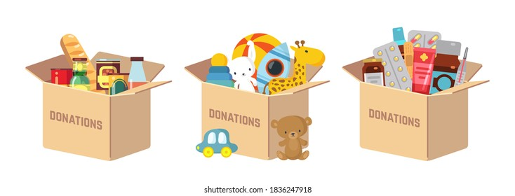 Donations boxes. Donate child toys, food and medications humanitarian aid. Charity kindness, volunteer social assistance