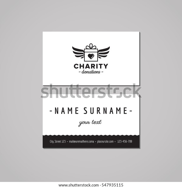 Donations and charity business card design concept. Logo with gift box and wings. Vintage, hipster and retro style.