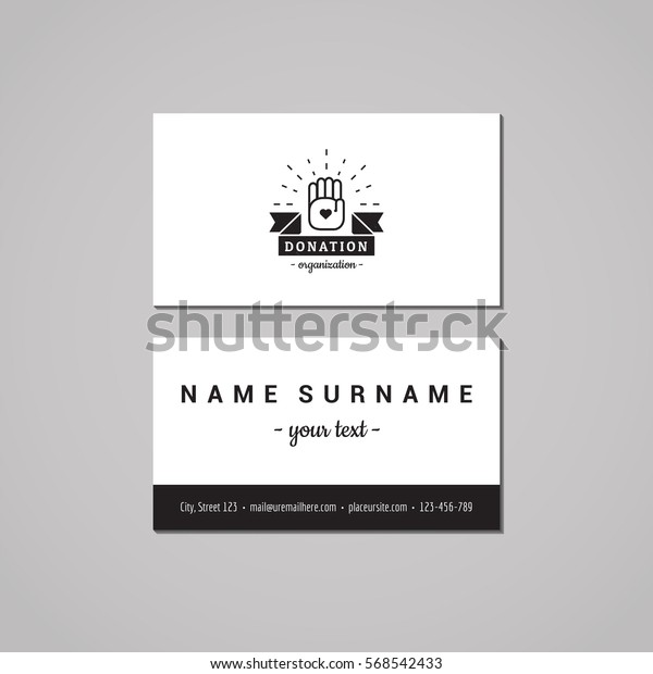 Donations and charity business card design concept. Logo with hands and ribbon. Vintage, hipster and retro style.