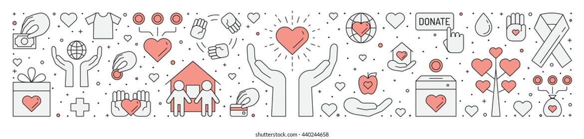 Donations and charity (red and gray) horizontal illustration (background). Clean and simple outline design.