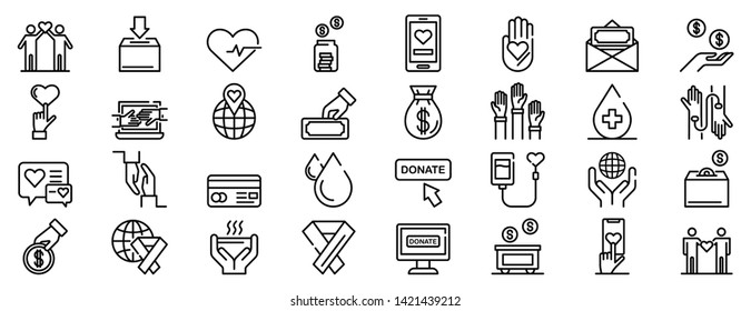 Donations icons set. Outline set of donations vector icons for web design isolated on white background