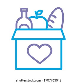 donations urn with groceries solidarity line style vector illustration design