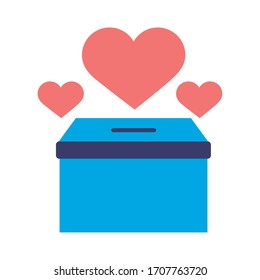 donations urn with hearts solidarity flat style vector illustration design