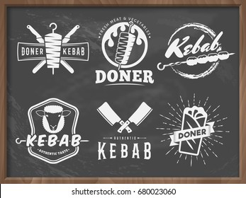 Doner kebab badges. Vector kebab logos with traditional eastern grill dishes on the dirty chalkboard background. Vintage labels for restaurant or bar.