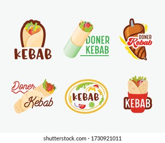 Doner Kebab Banners, Icons Set. Arabian or Turkish Restaurant Badges with Meat on Pole, Pita and Typography Isolated on White Background. Fastfood Cafe Labels Grilled Food Emblems. Vector Illustration