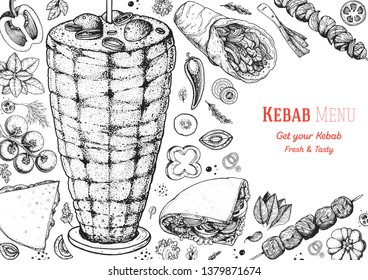 Doner kebab cooking and ingredients for kebab, sketch illustration. Arabic cuisine frame. Fast food menu design elements. Shawarma hand drawn frame. Middle eastern food.