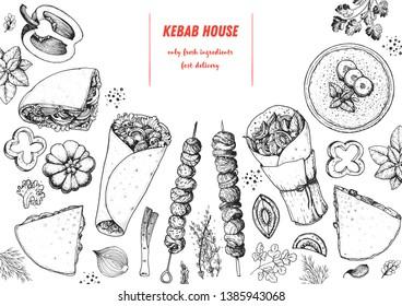 Doner kebab cooking and ingredients for kebab, sketch illustration. Arabic cuisine frame. Fast food menu design elements. Shawarma hand drawn frame. Middle eastern food.
