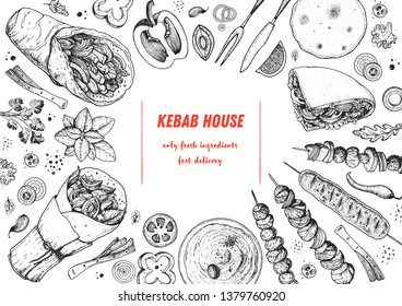Doner kebab and ingredients for kebab, sketch illustration. Arabic cuisine frame. Fast food menu design elements. Shawarma hand drawn frame. Middle eastern food.