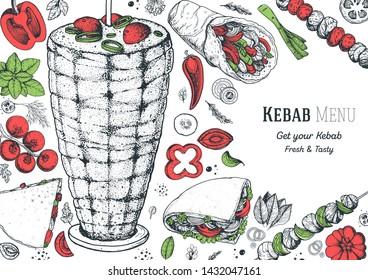 Doner kebab and ingredients for kebab, sketch illustration. Turkish food. Shawarma hand drawn frame. Arabic cuisine frame. Fast food menu design elements. Middle eastern food.