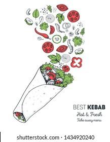 Doner kebab and ingredients for kebab, sketch illustration. Flying salad concept. Arabic cuisine frame. Fast food menu design elements. Shawarma hand drawn. Middle eastern food.