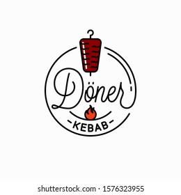 Doner kebab logo. Round linear logo of doner shawarma on white background
