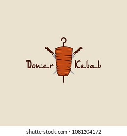 Doner kebab logo. Vector creative label for Turkish and Arabian fast food restaurant