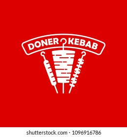 Doner Kebab logo. Vector emblem with traditional eastern dishes, beef, grill, barbecue for restaurant, bar, fast food cafe and menu design isolated on red background.