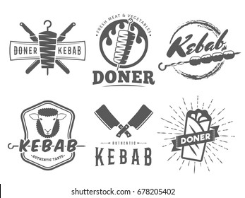 Doner kebab logos. Vector kebab badges with traditional eastern grill dishes. Vintage labels for restaurant or bar.