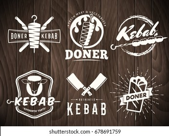 Doner kebab logos. Vector kebab badges with traditional eastern grill dishes on retro wooden background. Vintage labels for restaurant or bar.