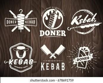 Doner kebab logos. Vector kebab badges with traditional eastern grill dishes on retro wooden background. Vintage labels for restaurant or bar.