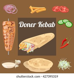 Doner kebab. Meat, vegetables, sauce, pita . Vector illustration.