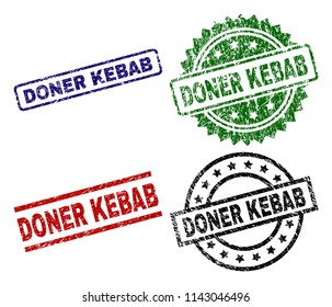 DONER KEBAB seal prints with damaged surface. Black, green,red,blue vector rubber prints of DONER KEBAB label with unclean surface. Rubber seals with circle, rectangle, medallion shapes.