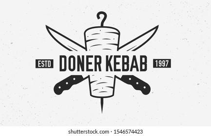 Doner Kebab vintage logo template. Doner Kebab with kebab knives isolated on white background. Retro poster for shop, restaurant, kebab cafe. Vector illustration