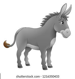 A donkey animal cute cartoon character illustration