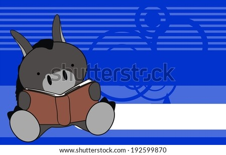 Donkey Baby Reading Cartoon Wallpaper In Vector Format