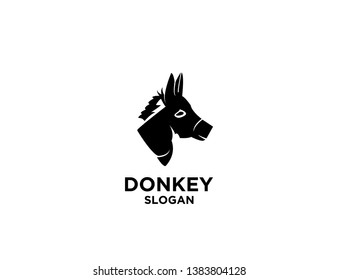 donkey black color with white background logo icon designs vector illustration sign silhouette