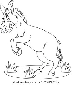 Donkey with black fur smiling coloring page cartoon vector art and illustration