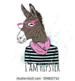 donkey boy hipster portrait, hand drawn graphic