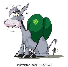Donkey carries heavy load