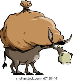 The donkey carries a large bag, vector