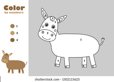 Donkey in cartoon style, color by number, education paper game for the development of children, coloring page, kids preschool activity, printable worksheet, vector illustration