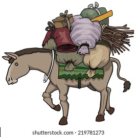 Donkey character loaded with various heavy loads, vector illustration
