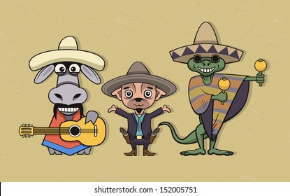 Donkey, Chihuahua and Iguana musicians in mexican national clothing