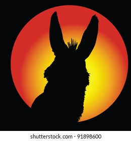 donkey in circle with color background vector illustration
